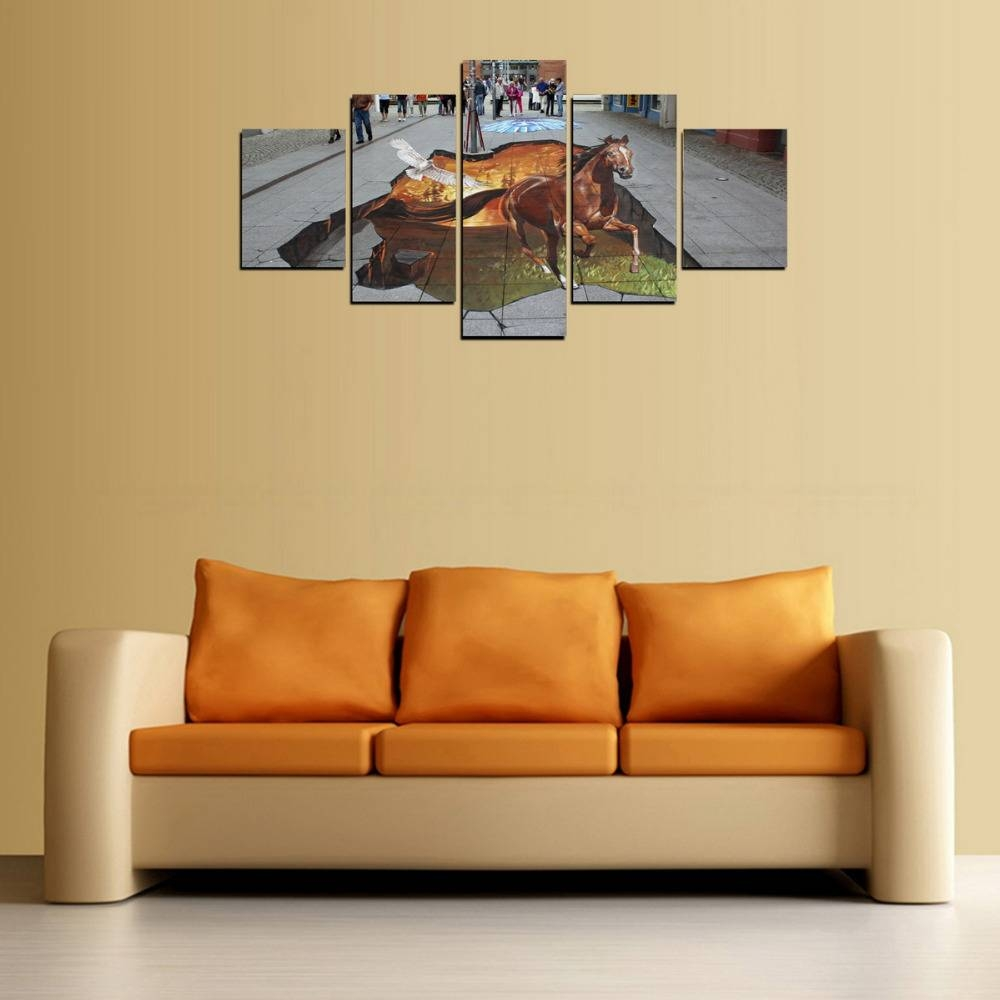 5 Panels High Quality Picture 3D Horse Picture Canvas Print Wall Within Current 3D Horse Wall Art (View 6 of 20)