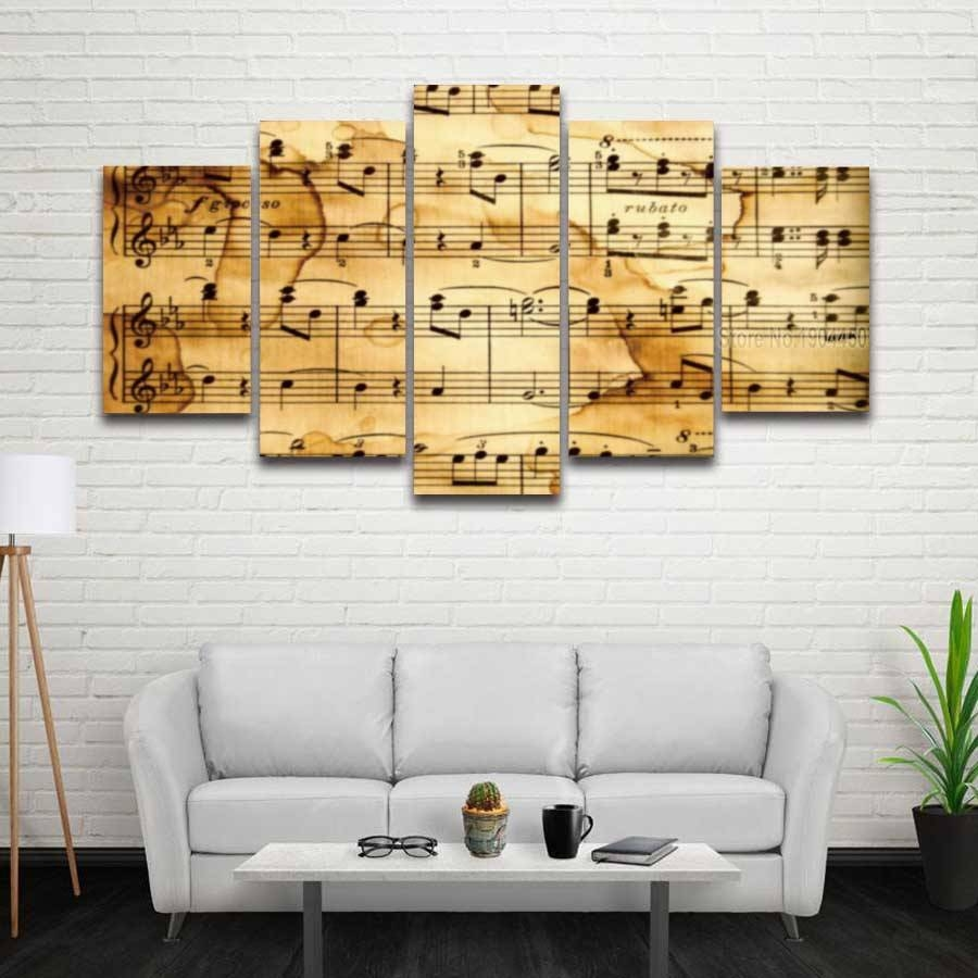 5 Panels Printed Artistic Music Notes Picture Modular Painting On With Most Current Music Note Art For Walls (View 17 of 25)