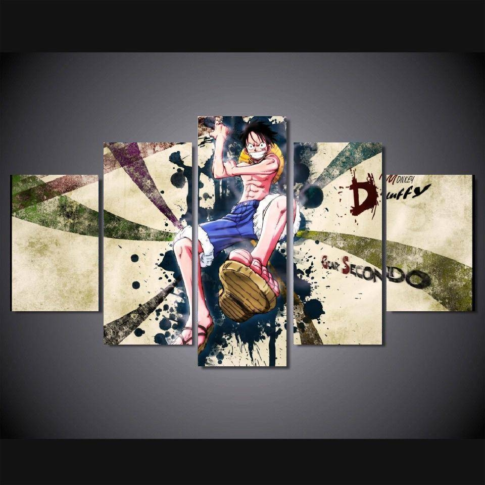 5 Panels Wall Art Ace One Piece Franky Modern Paintings Art Canvas Regarding Most Recent Geisha Canvas Wall Art (View 3 of 20)