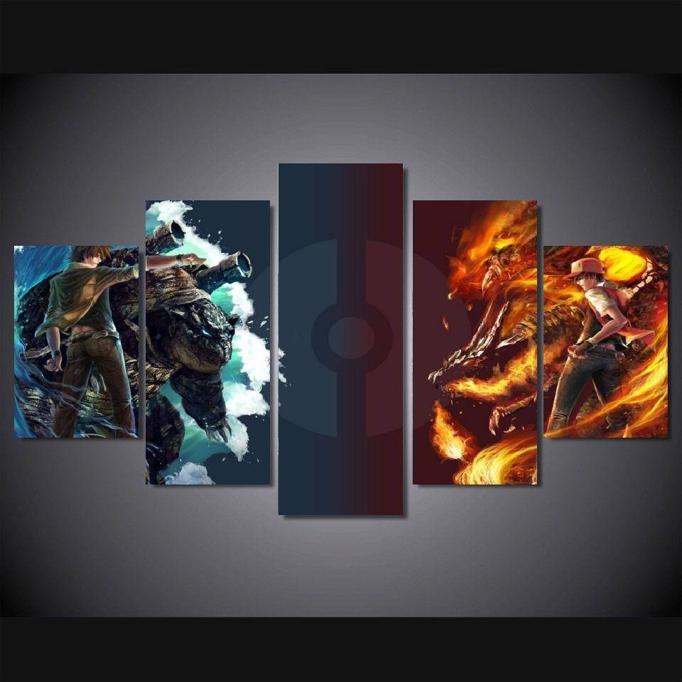 5 Panels Wall Art Anime Pokemon Game Japanese Anime Paintings Art In Latest Japanese Wall Art Panels (View 3 of 25)