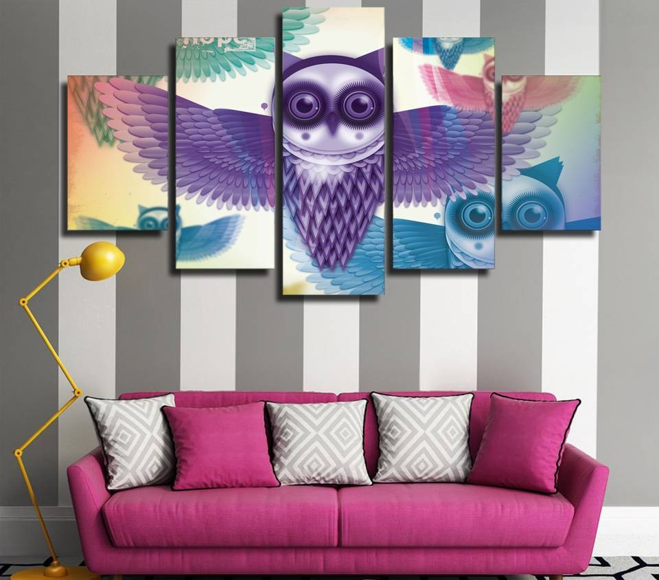 5 Pcs/set Framed Hd Printed Cartoon Owl Animal Picture Wall Art pertaining to Recent Owl Framed Wall Art