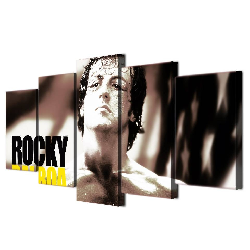 5 Pcs/set Framed Hd Printed Rocky Balboa Boxing Stars Painting With Recent Rocky Balboa Wall Art (View 12 of 20)