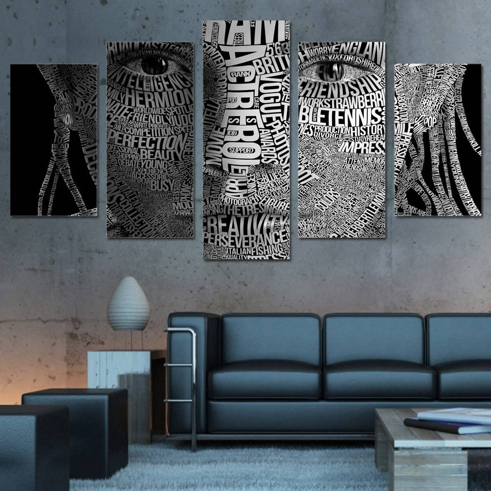 5 Pcs/set Framed Hd Printed Words Face Typography Wall Art Canvas Within Most Popular Typography Canvas Wall Art (View 17 of 20)