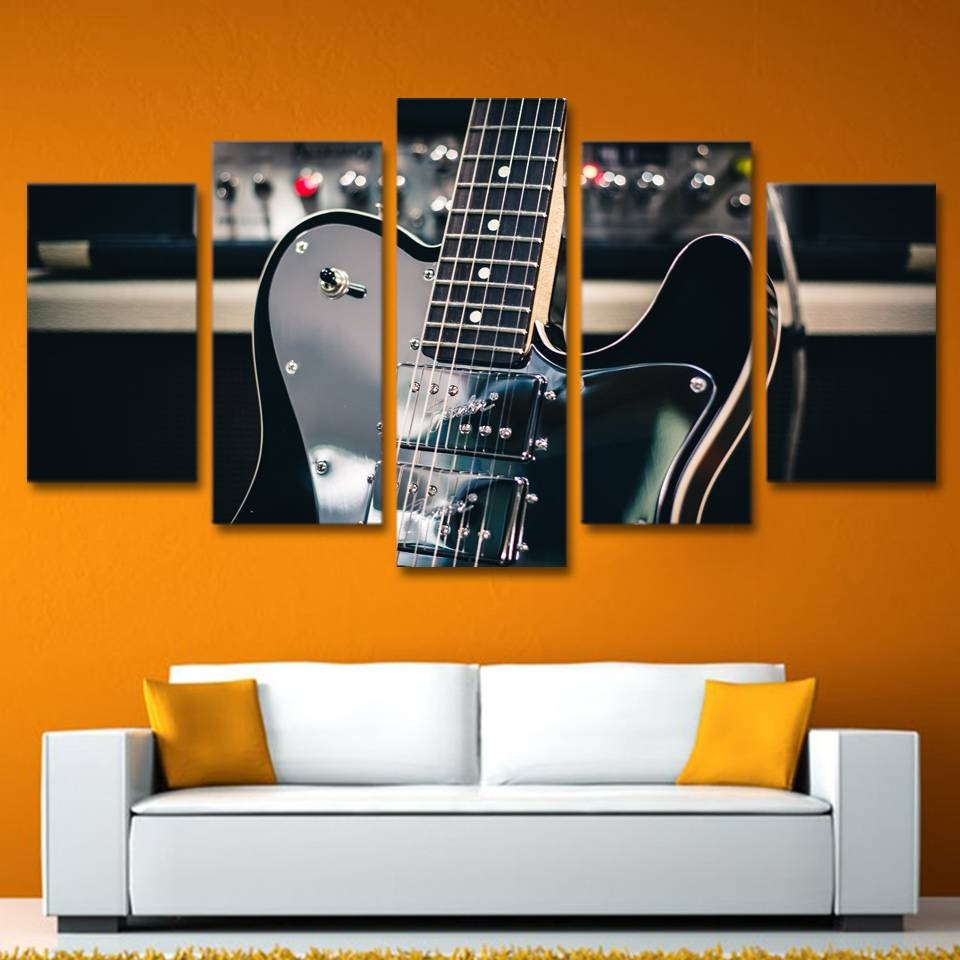 5 Piece Canvas Art Wall Art Guitar Instrument Painting Picture Inside Current Guitar Canvas Wall Art (View 9 of 20)