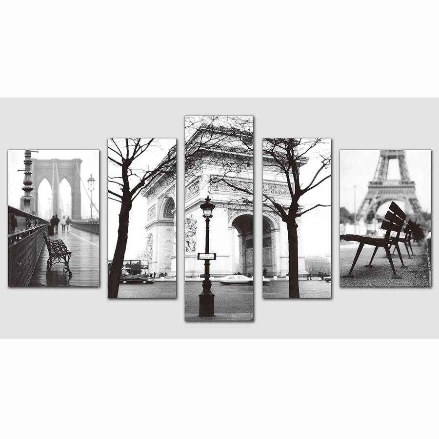 5 Pieces 3 Style Black And White Picture Paris Eiffel Tower Modern Within Current Black And White Paris Wall Art (View 11 of 25)
