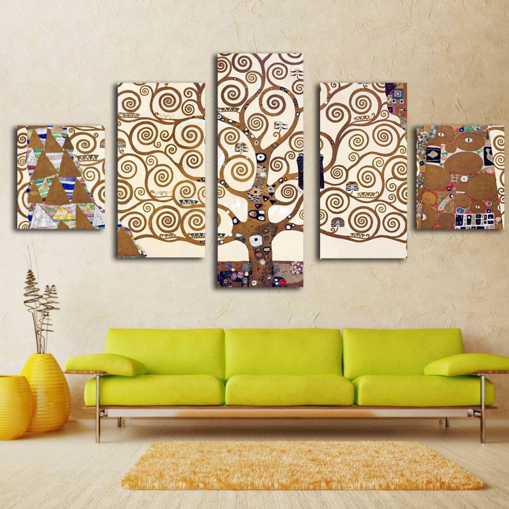 5 Pieces Gustav Klimt Prints Wall Art Print On Canvas For Home Pertaining To Most Current Art Prints To Hang On Your Wall (View 6 of 15)