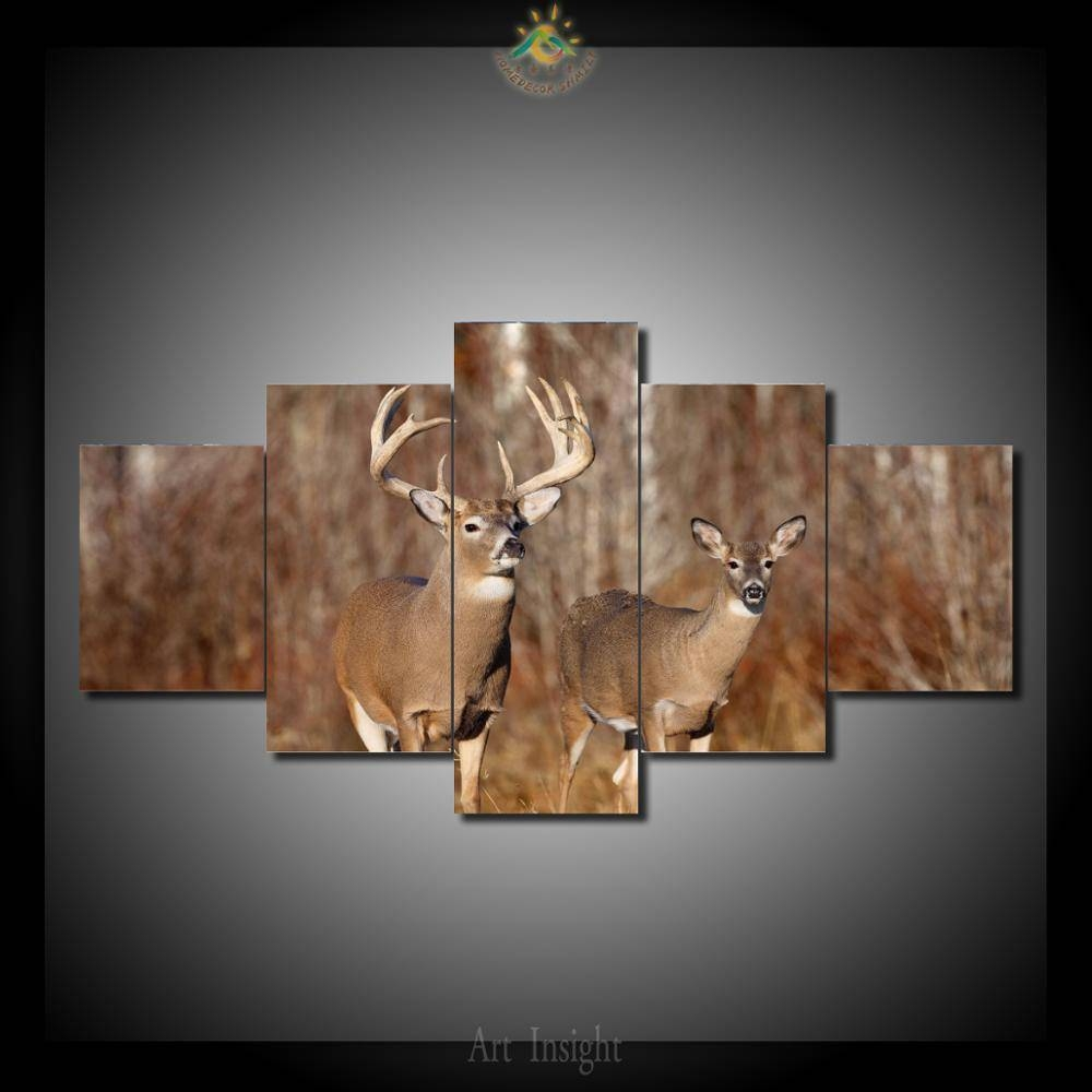 5 Pieces/set Beautiful Deer In The Jungle Canvas Wall Painting For Throughout Most Recent Jungle Canvas Wall Art (View 4 of 20)
