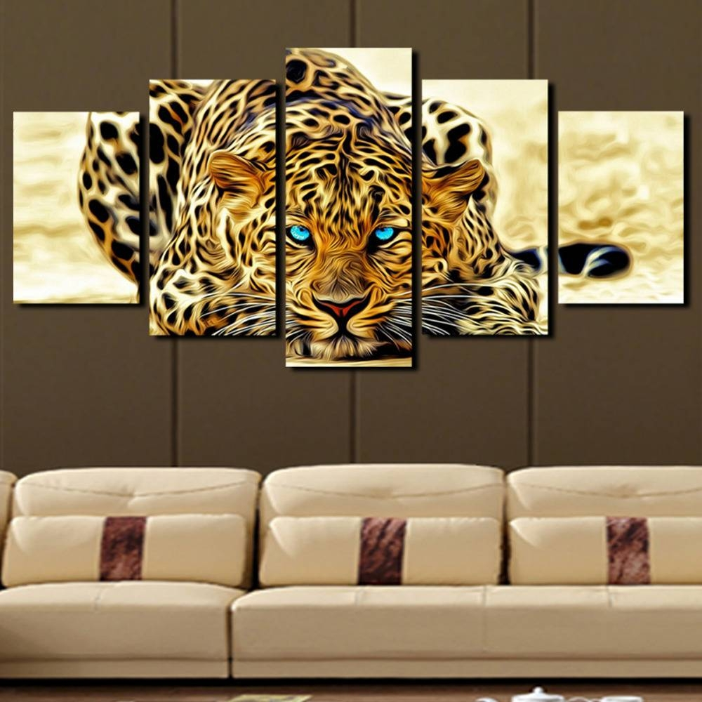 5 Plane Abstract Leopards Modern Home Decor Wall Art Canvas Animal Intended For Best And Newest Cheap Wall Art Canvas Sets (View 9 of 15)