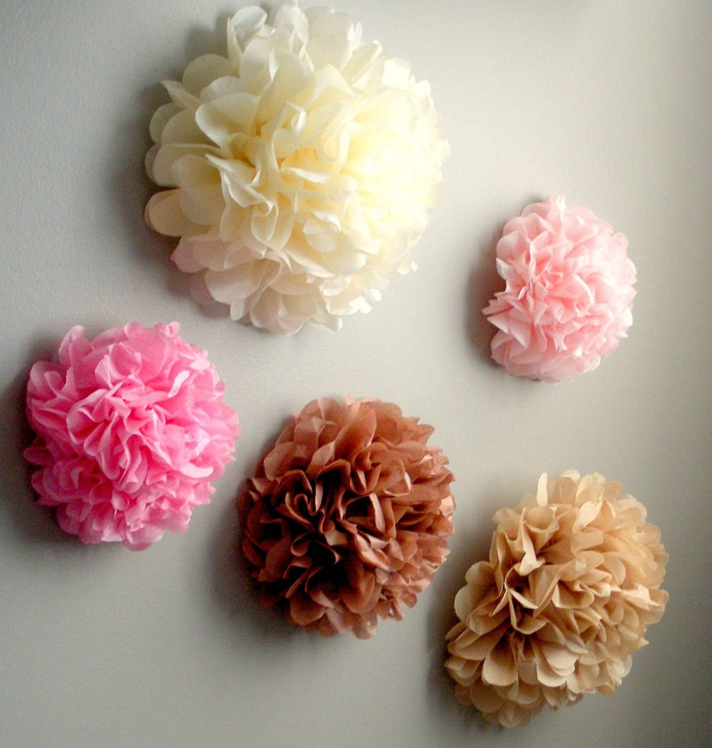 5 Tissue Paper Pom Pom Wall Flowerschoose Your For Most Popular Flowers 3D Wall Art (View 4 of 20)