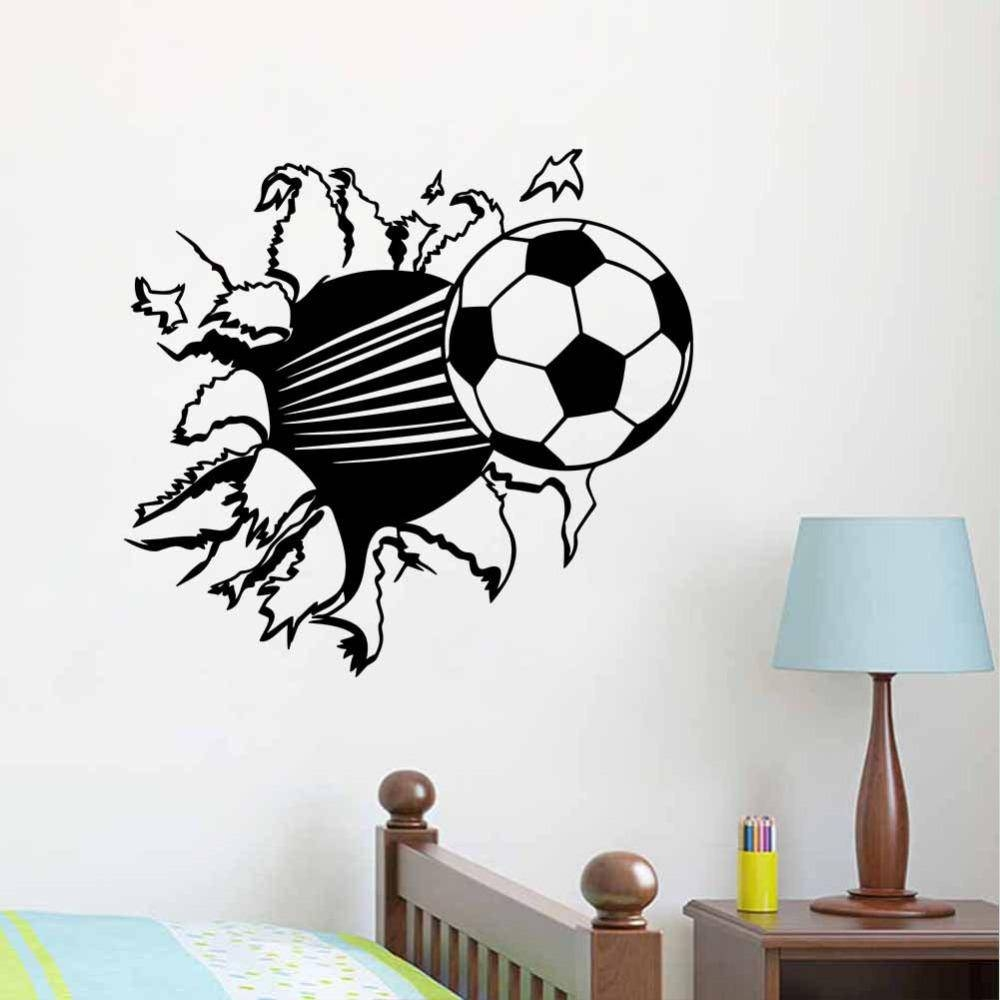 55*44Cm 3D Soccer Ball Football Vinyl Wall Sticker Decal Kids Room Within Most Recent Football 3D Wall Art (View 4 of 20)