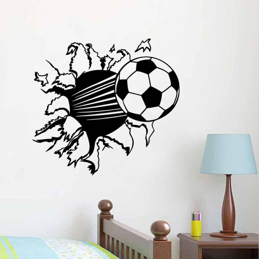 55*44Cm 3D Soccer Ball Football Vinyl Wall Sticker Decal Kids Room within Most Recent Football 3D Wall Art