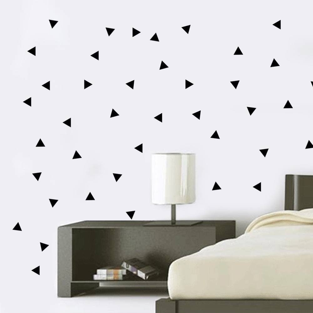 5Cm Triangles Wall Stickers, 154Pc/sheet Black Diy Modern Vinyl Regarding Recent Modern Vinyl Wall Art (View 1 of 14)
