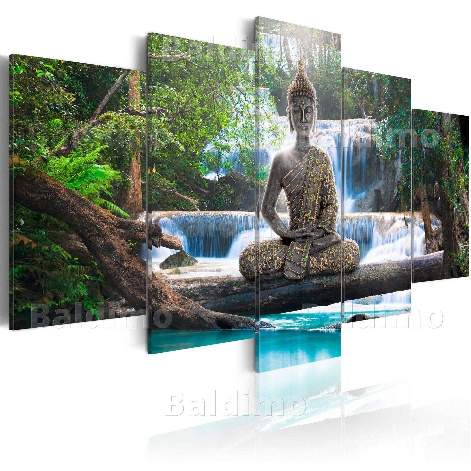 5Panels Large Buddha Waterfall Art Print Picture Canvas Wall Art With Regard To Most Current Large Buddha Wall Art (Gallery 2 of 15)