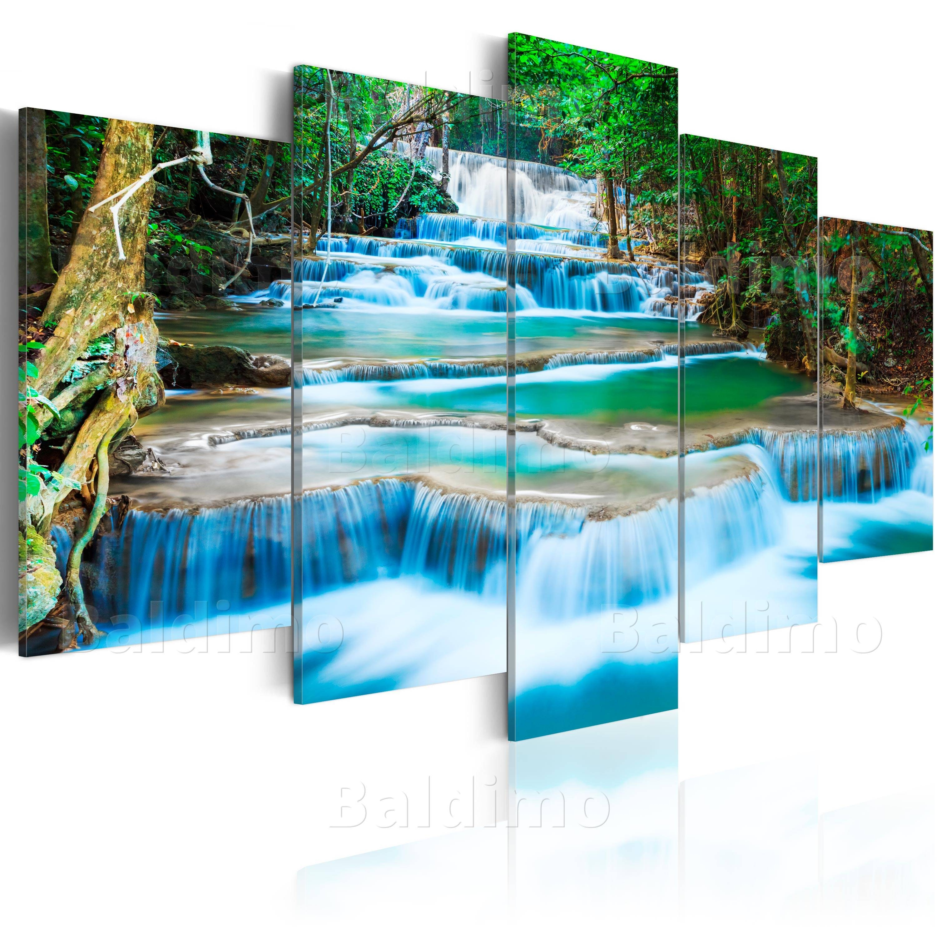5Panels Large Buddha Waterfall Art Print Picture Canvas Wall Art within Most Up-to-Date Waterfall Wall Art