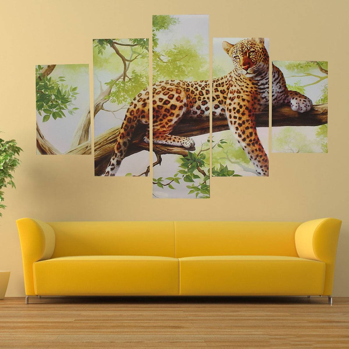 5Pcs Combination Canvas Print Painting Leopard Modern Wall Art Throughout Current Leopard Print Wall Art (View 1 of 25)