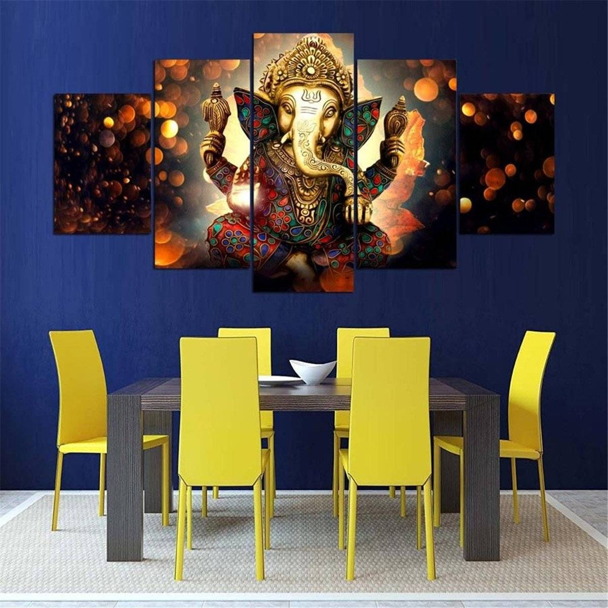 5Pcs Ganesha Painting Abstract Print Modern Canvas Wall Art Poster pertaining to Most Recent Ganesh Wall Art