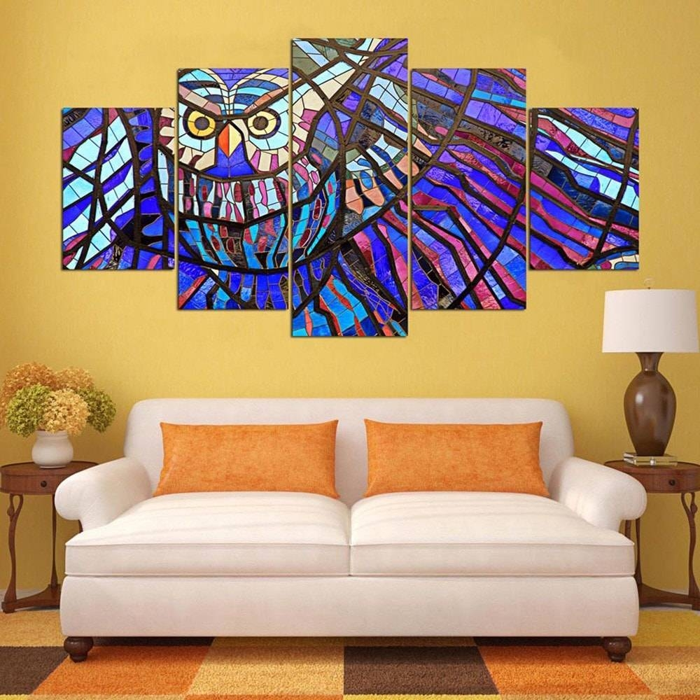 5pcs Ysdafen Printed Colorful Owl Painting Canvas Print $ (View 14 of 20)