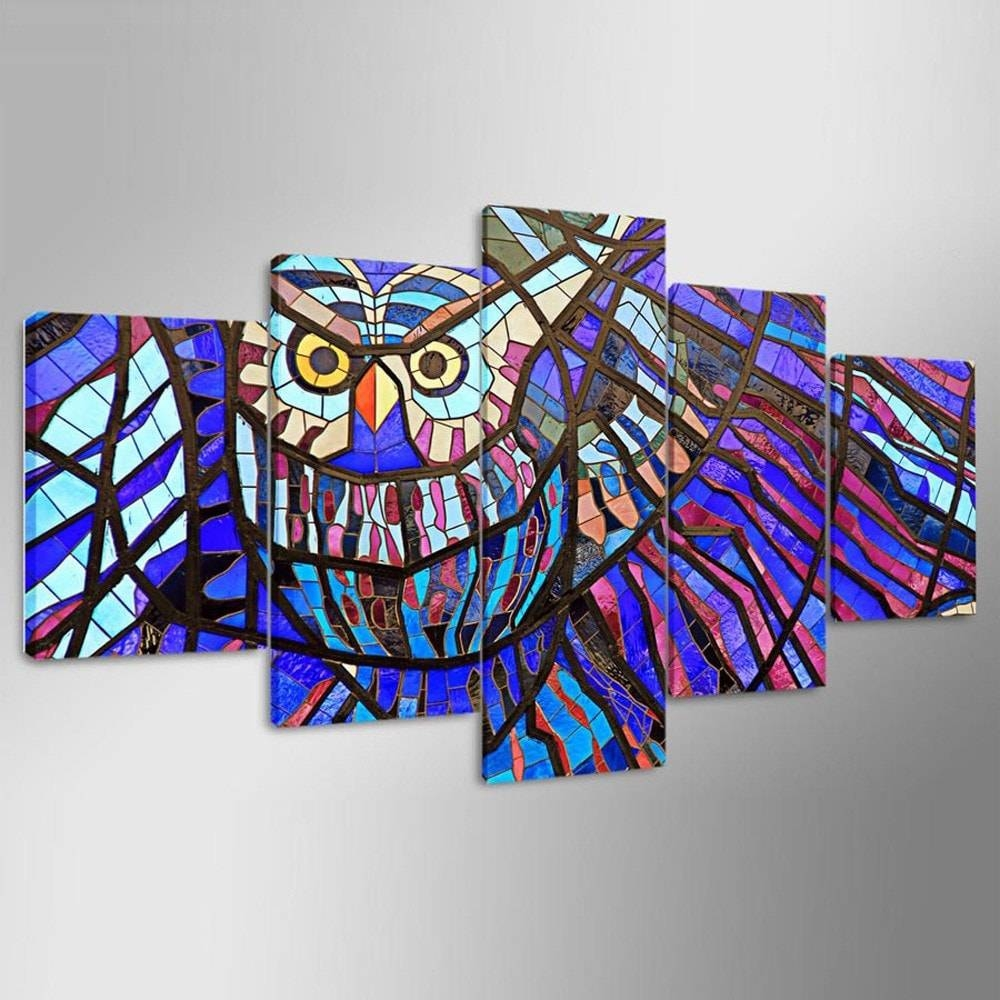 5Pcs Ysdafen Printed Colorful Owl Painting Canvas Print -$41.27 within Best and Newest Owl Framed Wall Art