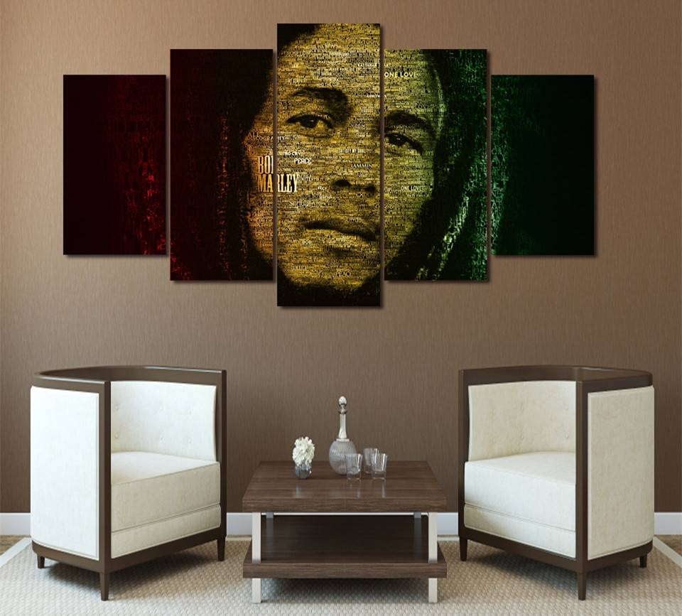 5Piece Canvas Artabstract Painting Wall Art Picture Prints On for 2018 Bob Marley Canvas Wall Art