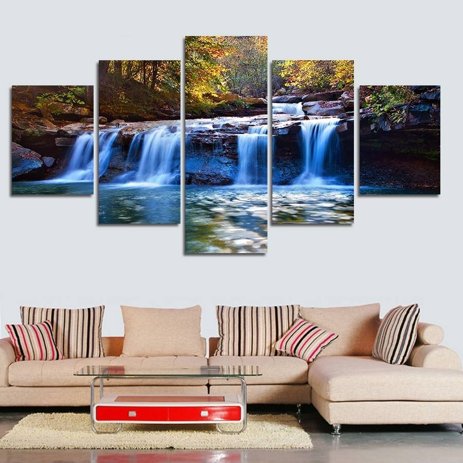 5Pieces/set Forest Waterfall Wall Art For Wall Decor Home With Regard To Most Current Waterfall Wall Art (View 7 of 20)
