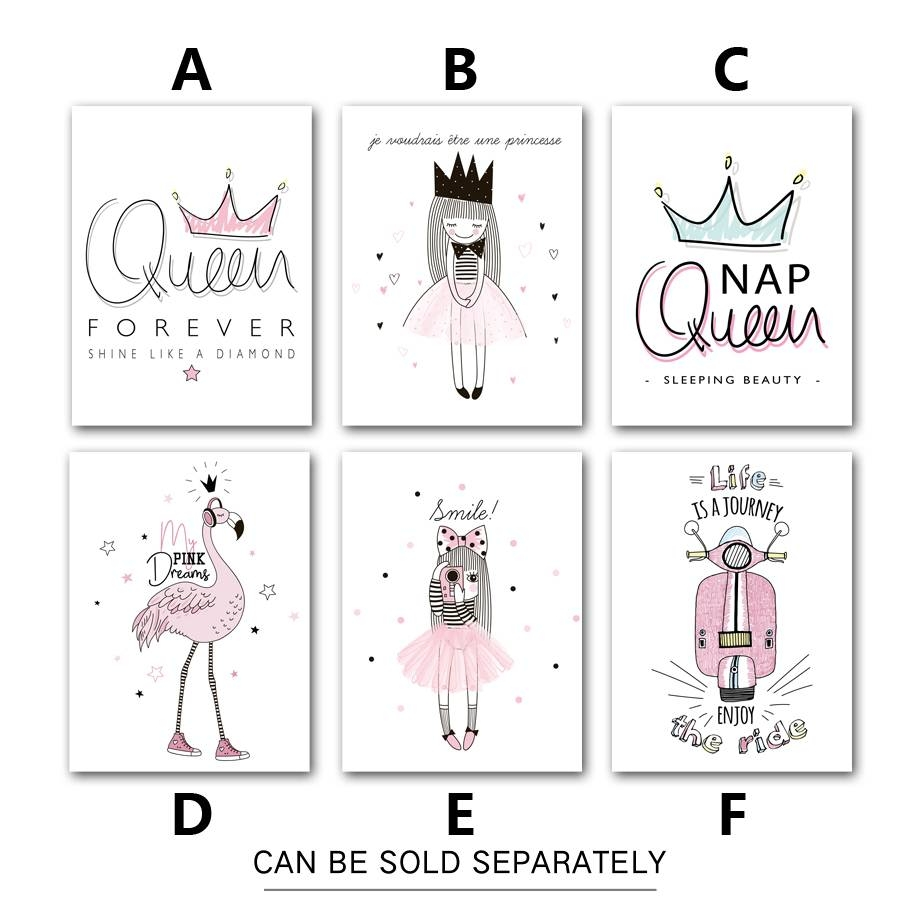 7 Space Nordic Poster Cartoon Wall Art Print Little Princess Throughout 2017 Princess Canvas Wall Art (View 1 of 20)