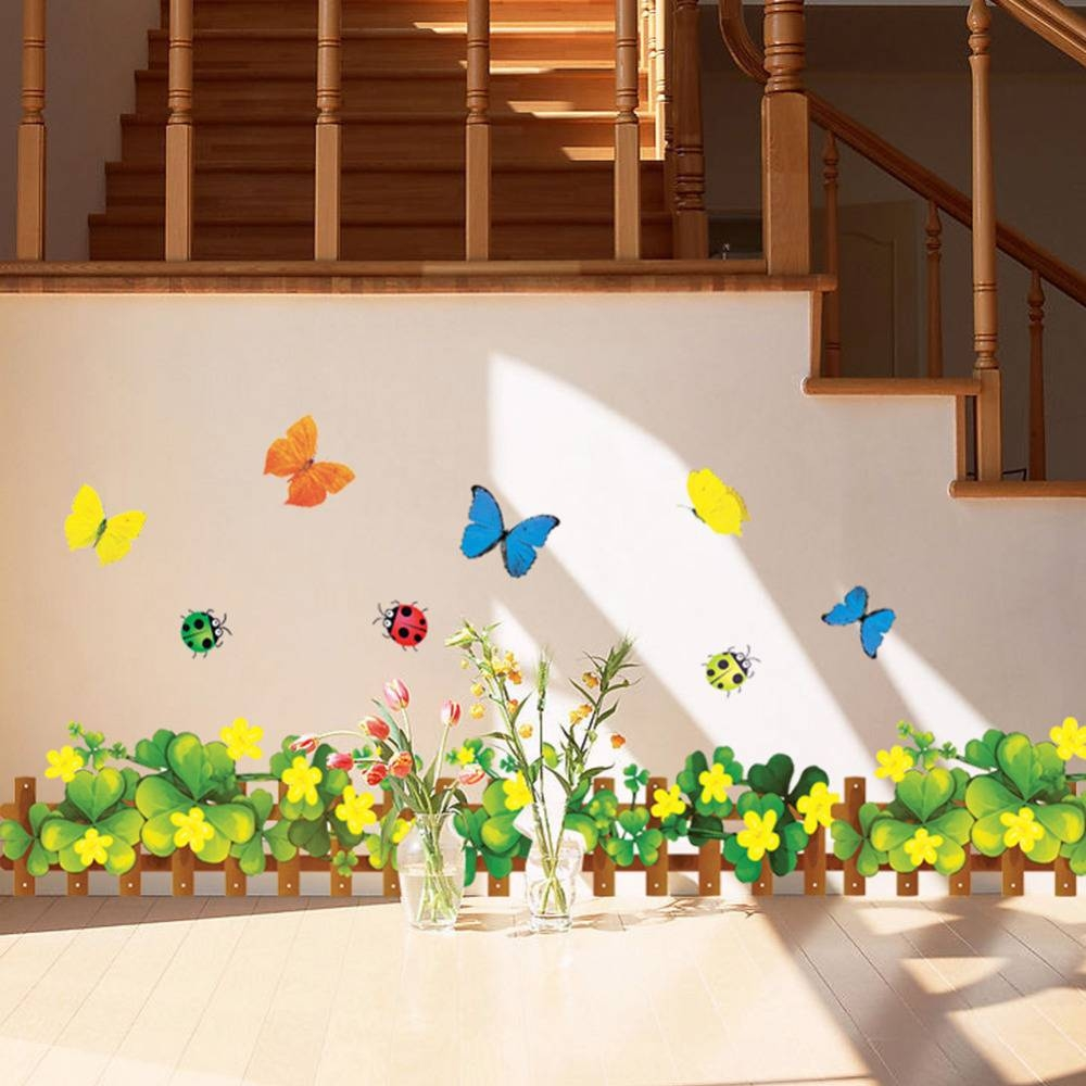 7 Styles Large Colorful Green Grass Insect Corner Butterflies Wall In Newest Insect Wall Art (View 2 of 30)