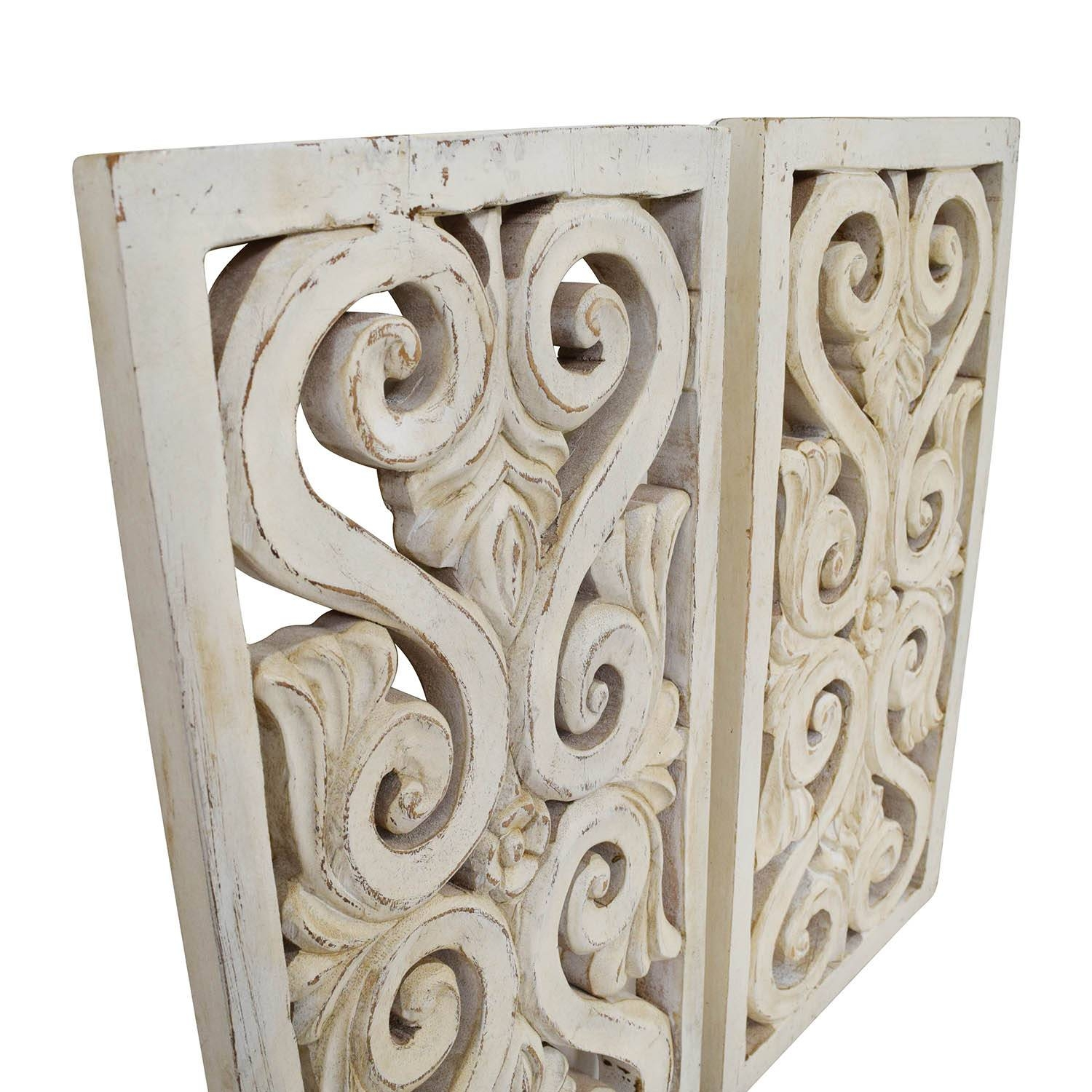 71% Off – Distressed White Wood Wall Sculpture / Decor With Regard To Best And Newest White Wooden Wall Art (Gallery 13 of 20)