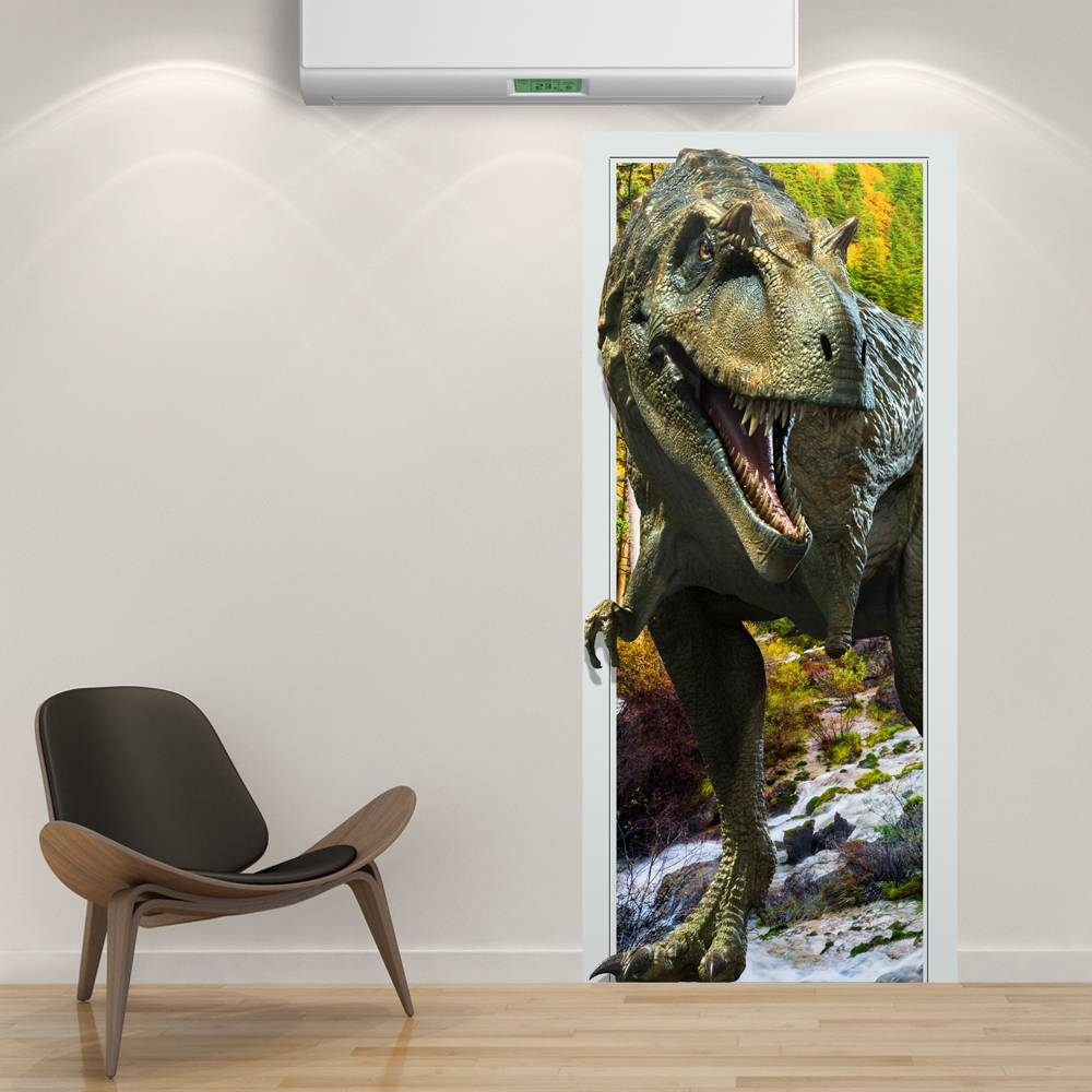 88x200cm Pag Imitative Door 3d Wall Sticker Fiery Dragon Throughout 2018 3d Dinosaur Wall Art Decor (View 3 of 20)