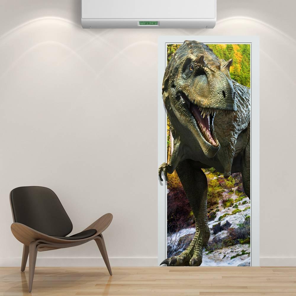 88X200Cm Pag Imitative Door 3D Wall Sticker Fiery Dragon Throughout 2018 3D Dinosaur Wall Art Decor (View 4 of 20)