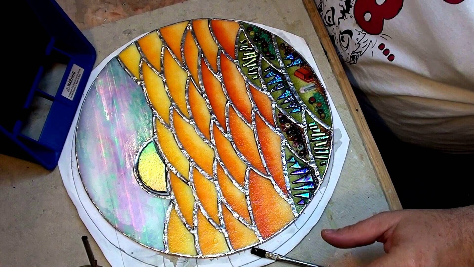 A Circular Fused Glass Wall Hanging – Part 3 – Youtube In Most Popular Fused Glass Wall Art Hanging (View 13 of 25)
