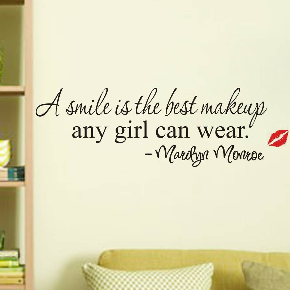 A Smile Is The Best Makeup Quotes Wall Stickers Girls Room Decor With Best And Newest Marilyn Monroe Wall Art Quotes (View 1 of 25)