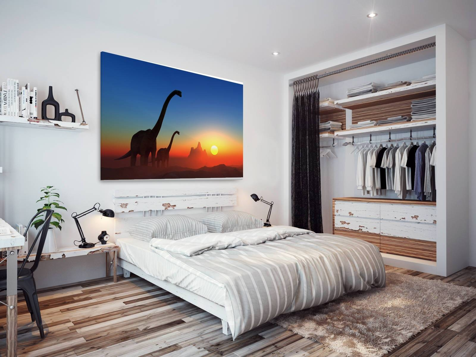 A210 Orange Blue Dinosaur Sunset Animal Canvas Wall Art Framed Within Current Animal Canvas Wall Art (View 7 of 20)