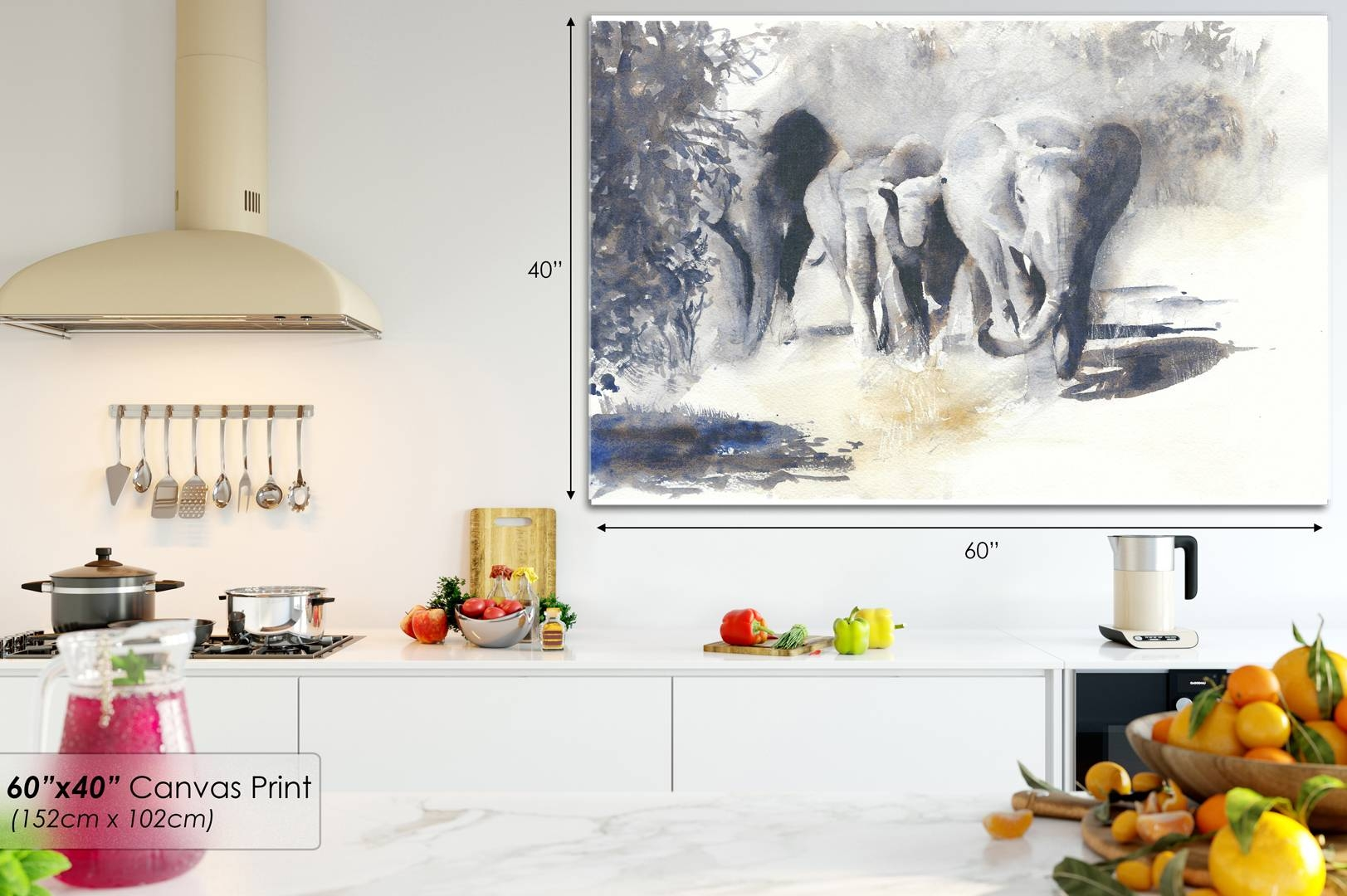A620 Grey African Elephants Marching Animal Canvas Wall Art Framed Regarding Most Recently Released Animal Canvas Wall Art (View 5 of 20)