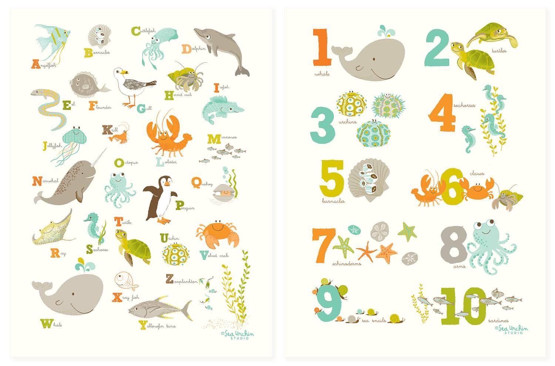 Abc 123 Ocean Wall Art Set Nursery Art For Children Pertaining To Recent Children Wall Art (View 2 of 15)