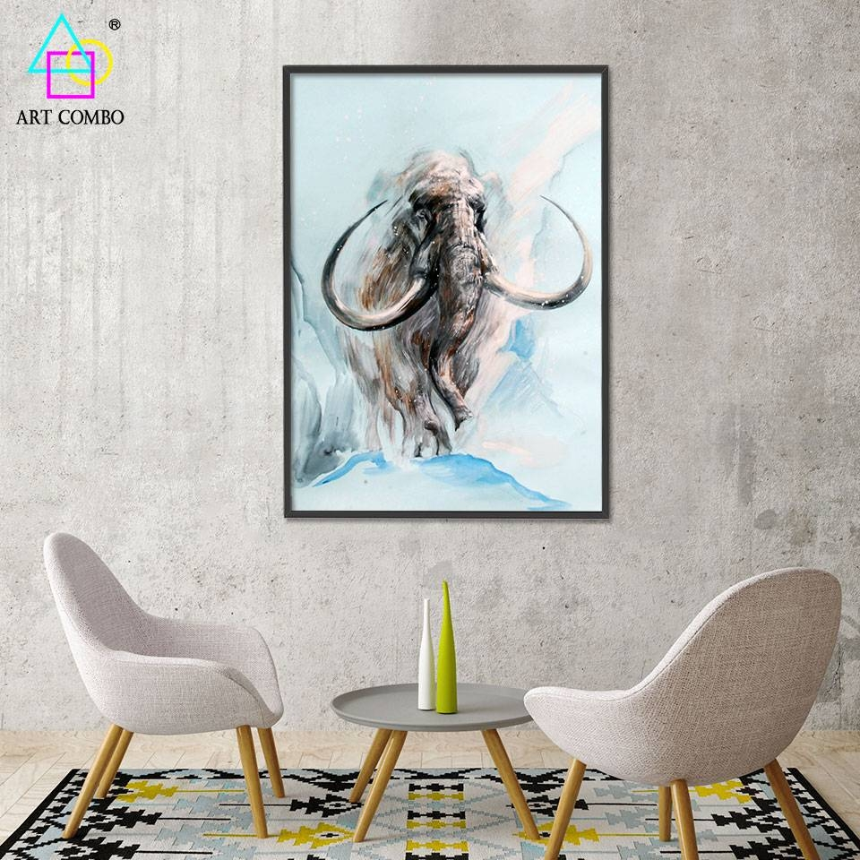 Abstract 3D Artwork Fabric Painting Animals Mammoth Drawing Home For Most Popular 3D Artwork On Wall (View 8 of 20)