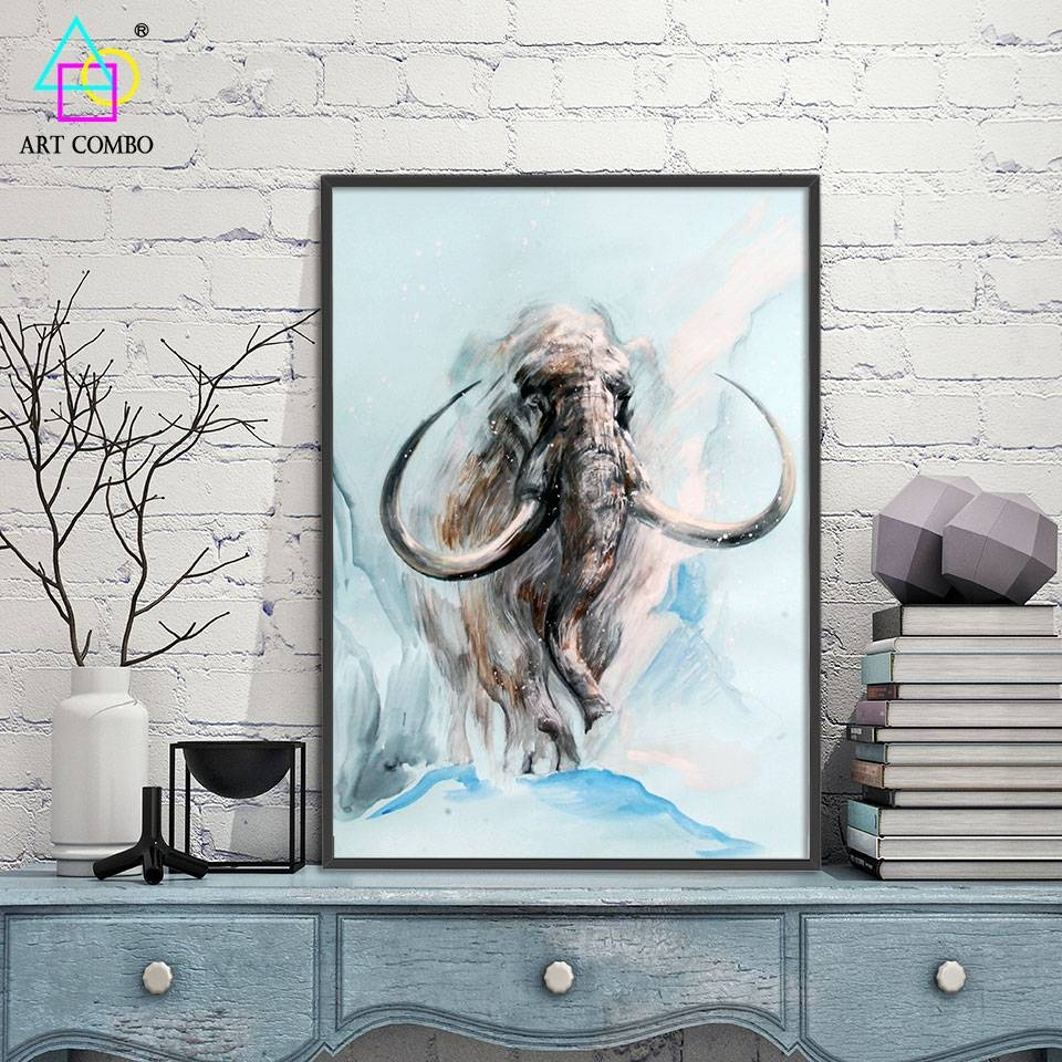 Abstract 3d Artwork Fabric Painting Animals Mammoth Drawing Home Pertaining To Recent 3d Artwork On Wall (View 5 of 20)