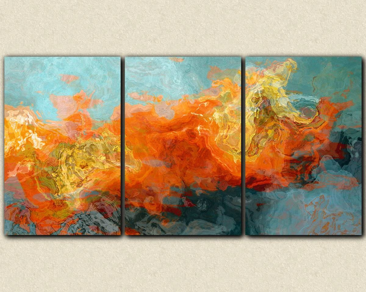 Abstract Art 40x78 Oversized Triptych Gallery Wrap Giclee With Most Recent Triptych Art For Sale (View 9 of 20)