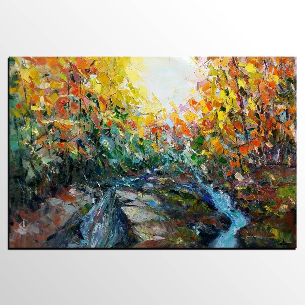 Abstract Art, Forest River Painting, Oil Painting, Abstract Inside Best And Newest Oil Painting Wall Art On Canvas (View 3 of 20)
