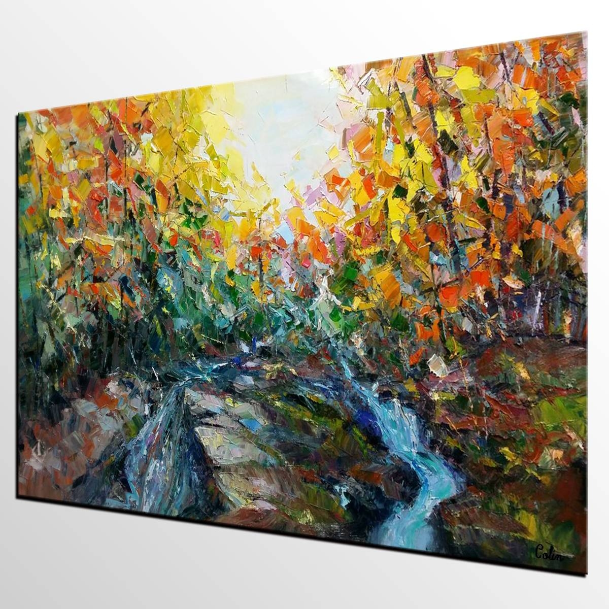 Abstract Art, Forest River Painting, Oil Painting, Abstract Inside Most Recently Released Oil Painting Wall Art On Canvas (View 4 of 20)