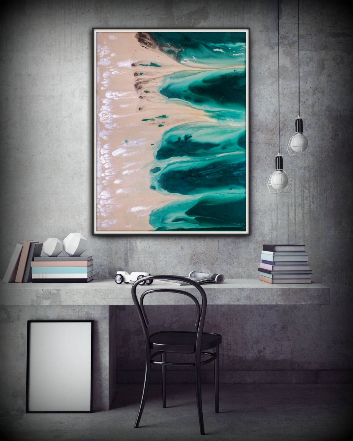 Abstract Art Green Wall Art Coastal Landscape Giclee Large Print For Most Current Coastal Wall Art Canvas (View 2 of 20)