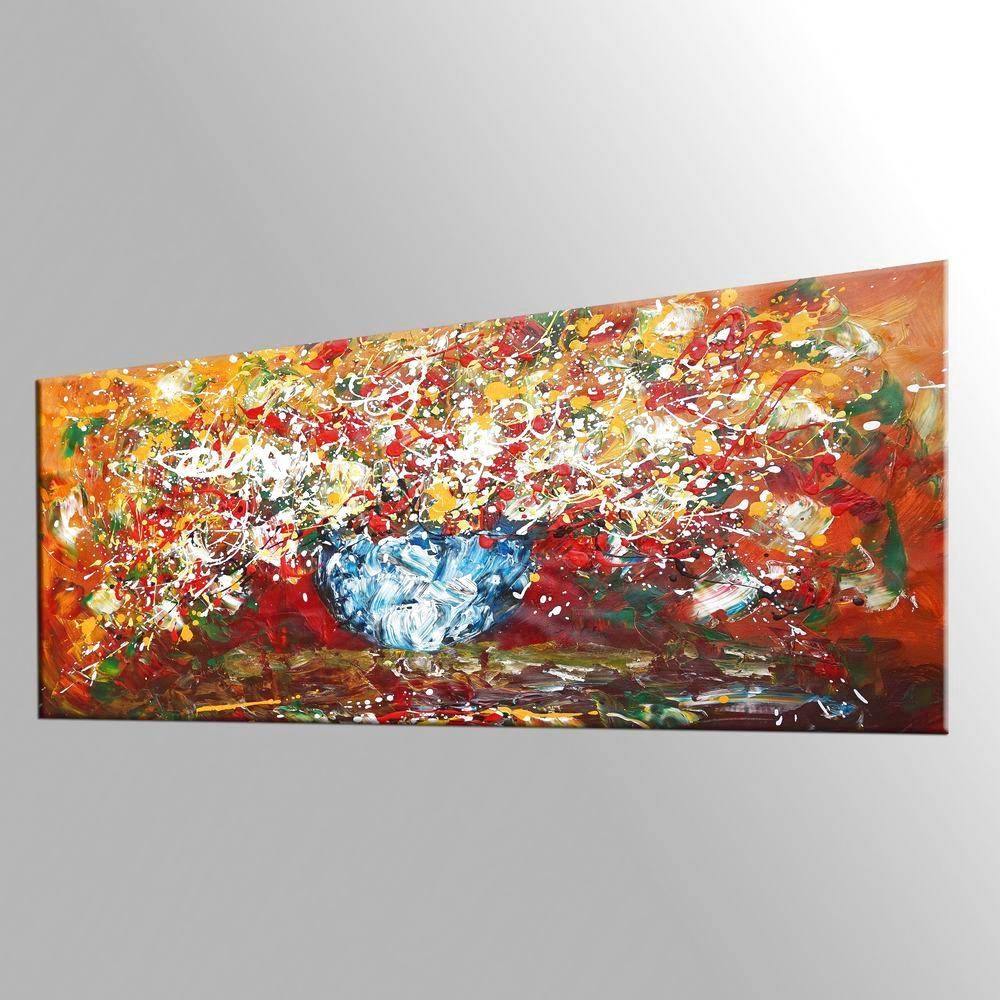 Abstract Art, Kitchen Wall Art, Large Painting, Flower Painting Intended For Recent Large Wall Art For Kitchen (Gallery 2 of 20)