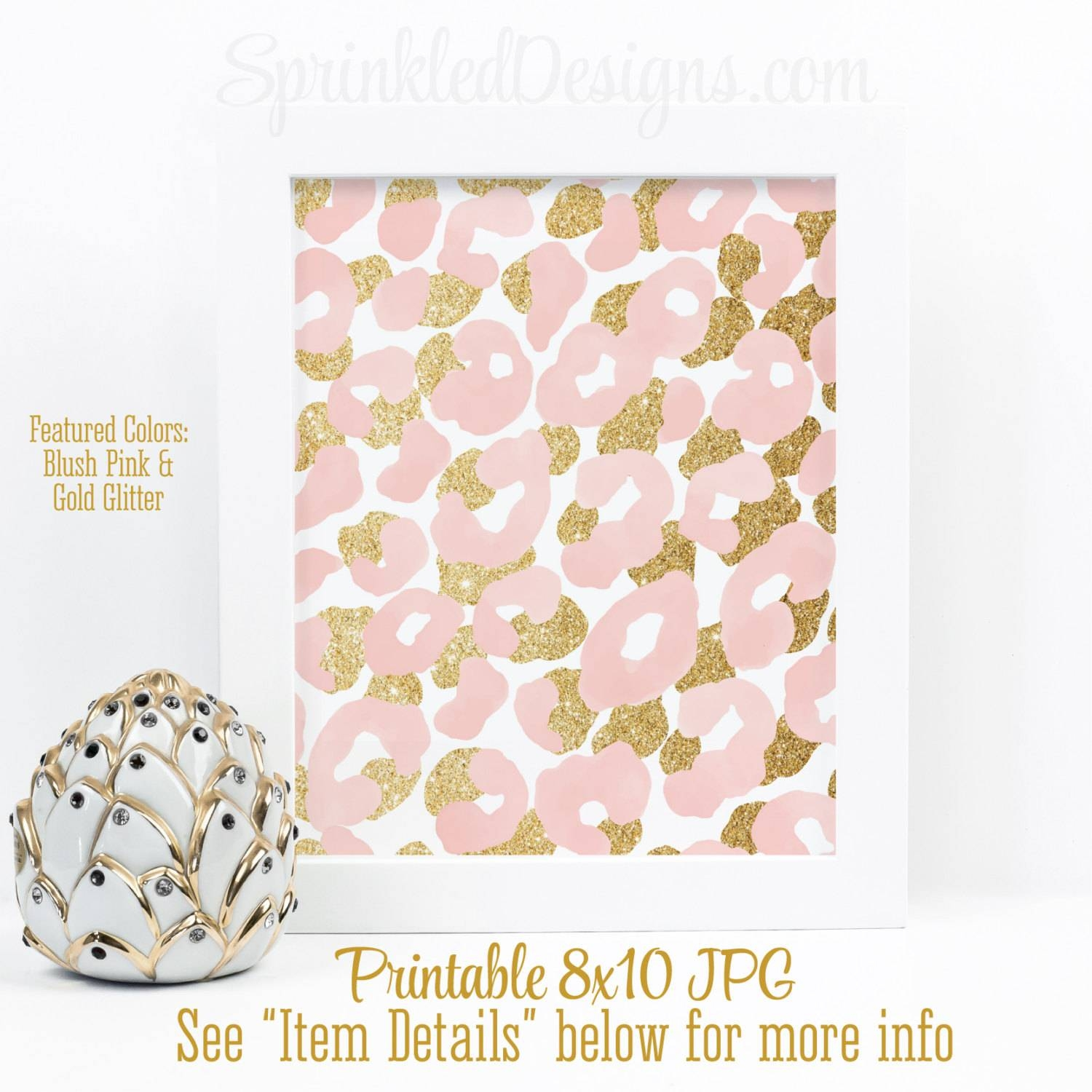 Abstract Art Print Blush Pink Gold Glitter Watercolor Pertaining To Newest Leopard Print Wall Art (View 2 of 25)