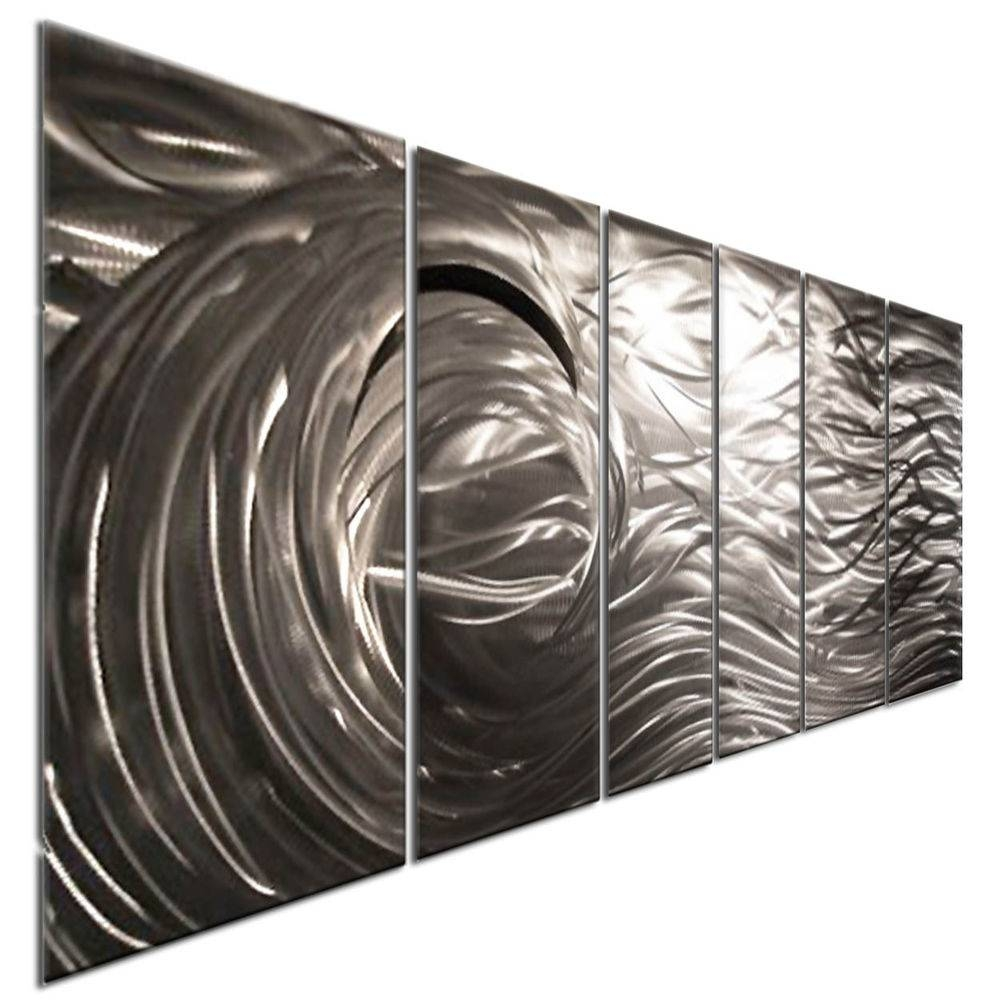 Abstract Brushed Metal Wall Art Silver Wave 3D Contemporary Home With Latest Ash Carl Metal Wall Art (View 1 of 30)