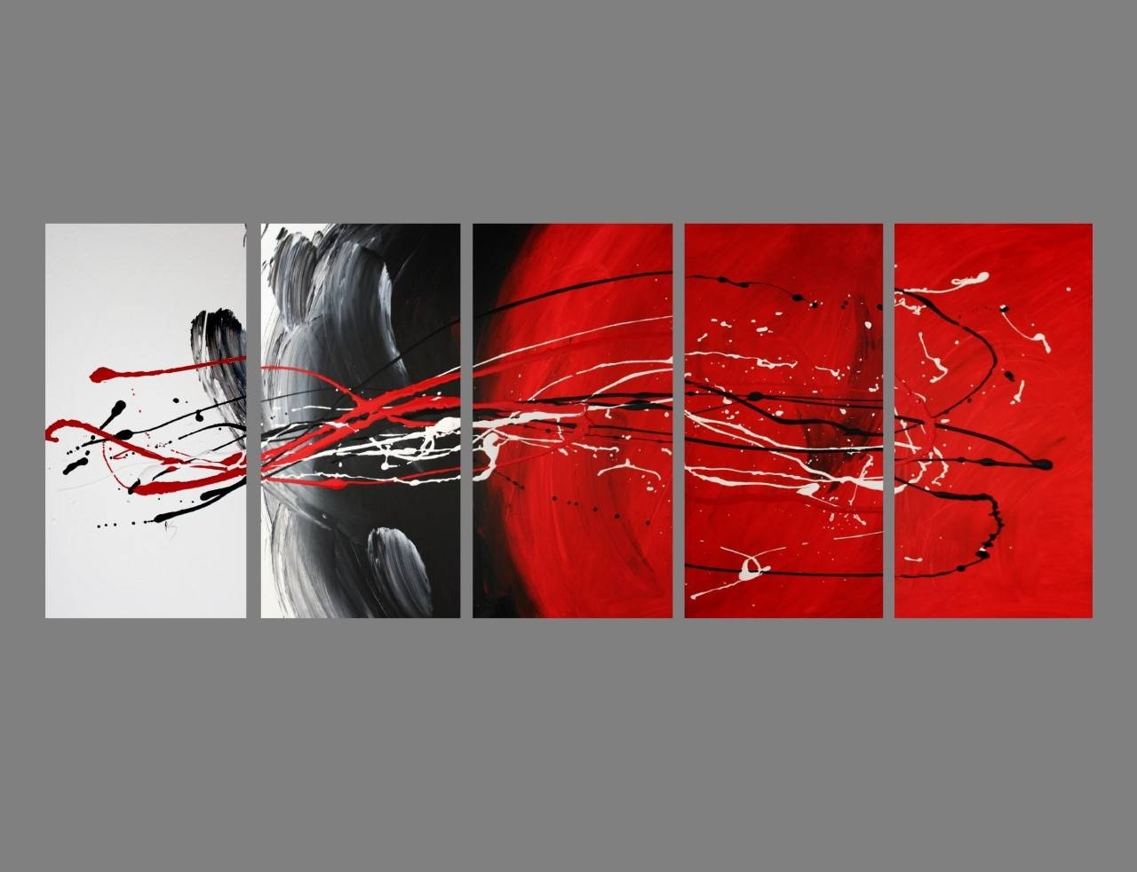 Abstract Canvas Painting Red Black White Modern Wall Art Artwork Regarding Most Recent Black And White Wall Art With Red (View 4 of 25)