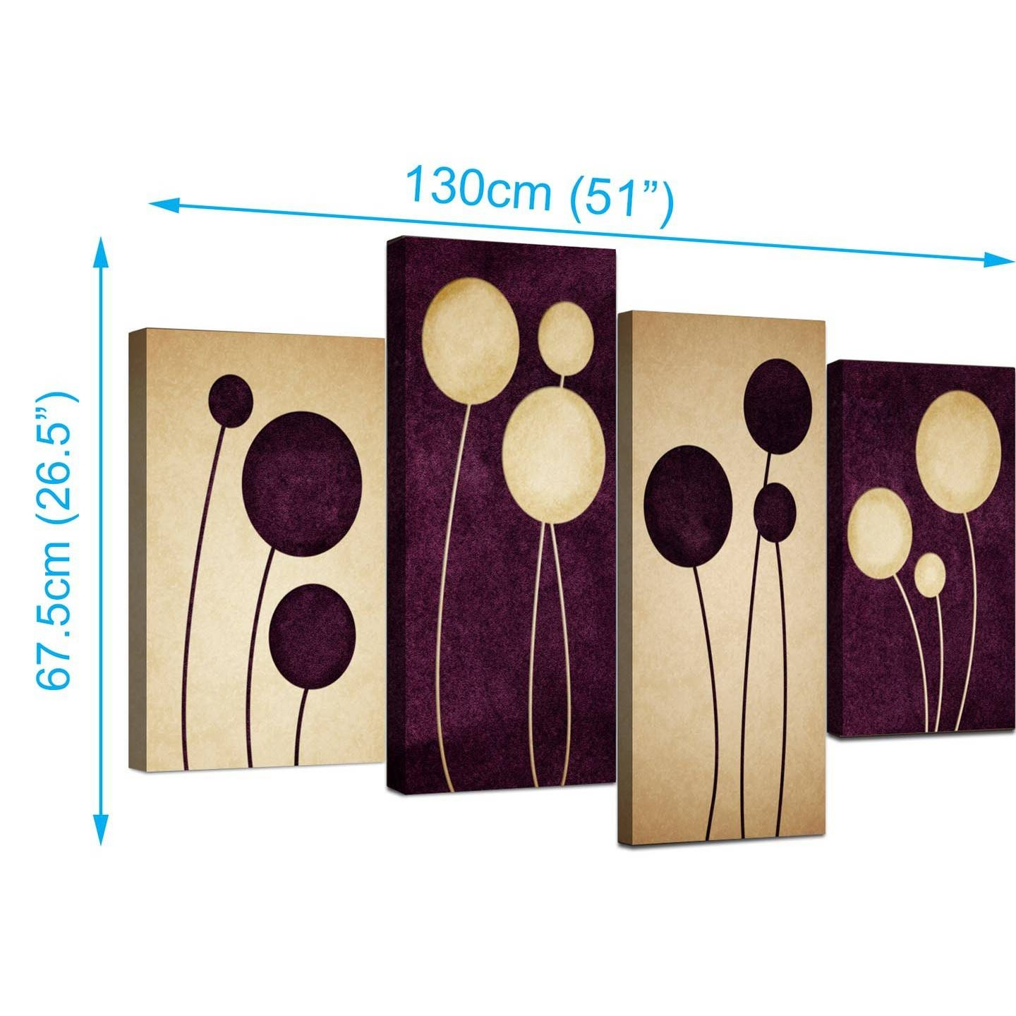 Abstract Canvas Prints In Purple For Your Living Room – 4 Panel Intended For Newest Purple Abstract Wall Art (View 7 of 20)