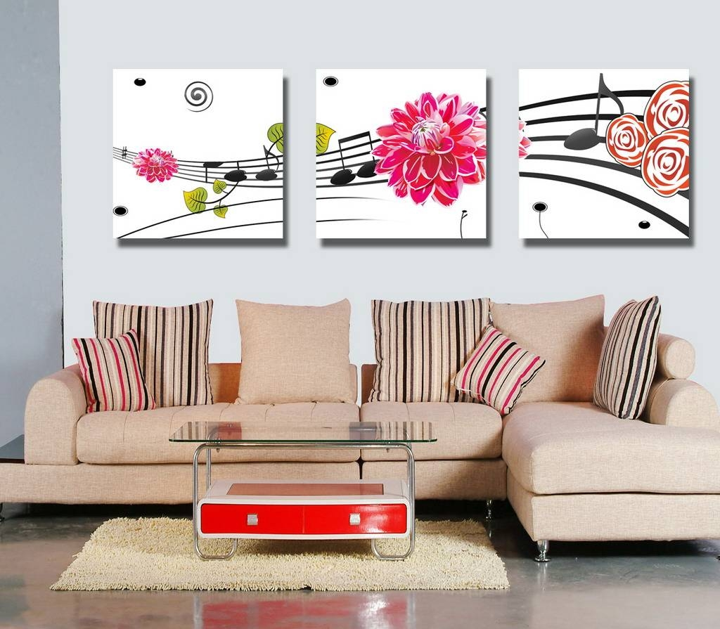 Abstract Canvas Prints Set Of 3 Modern Wall Art Painting Fine070 Throughout Best And Newest 3 Piece Floral Canvas Wall Art (View 8 of 20)