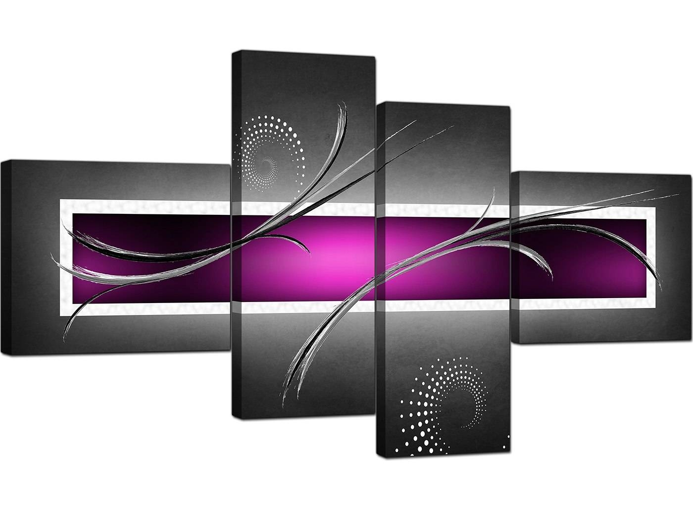 Abstract Canvas Prints Uk In Purple For Your Living Room – 4 Part Inside Best And Newest Purple Abstract Wall Art (View 13 of 20)