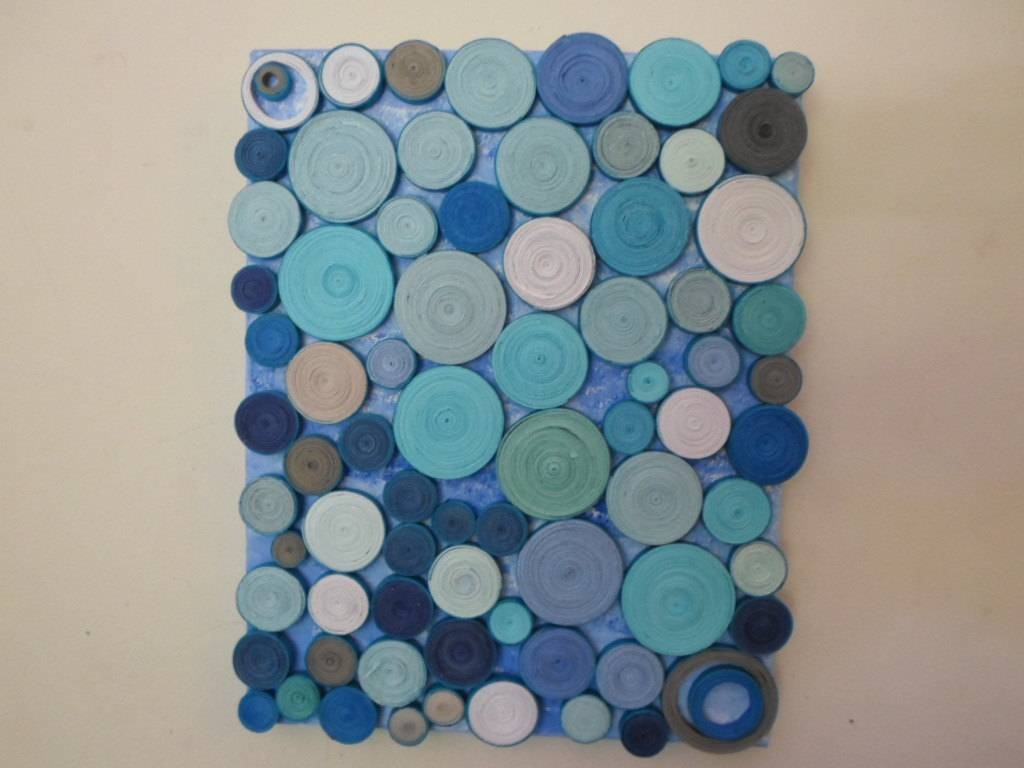 Abstract Circles Paper Sculpture Original Mixed Media Blue Intended For Most Up To Date Circles 3D Wall Art (View 8 of 20)