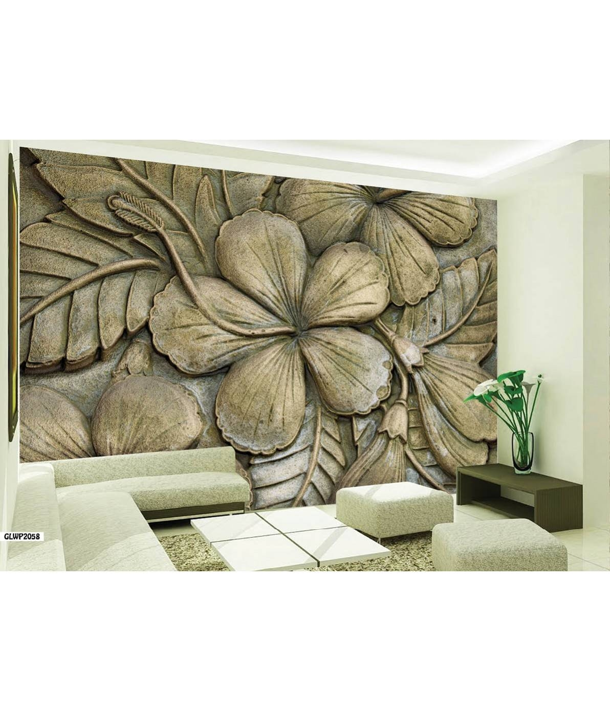 Abstract Floral Art Stone Effect Three 3D Wallpaper Intended For Most Current 3D Effect Wall Art (View 5 of 20)