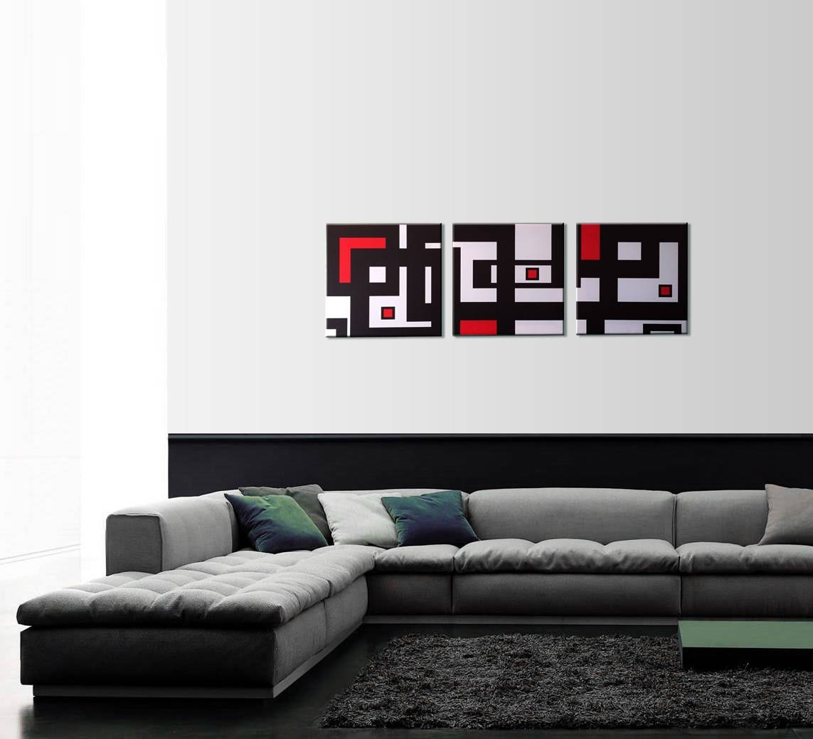 Abstract Geometry 3 Piece Wall Art Pertaining To Current Black White And Red Wall Art (View 2 of 20)